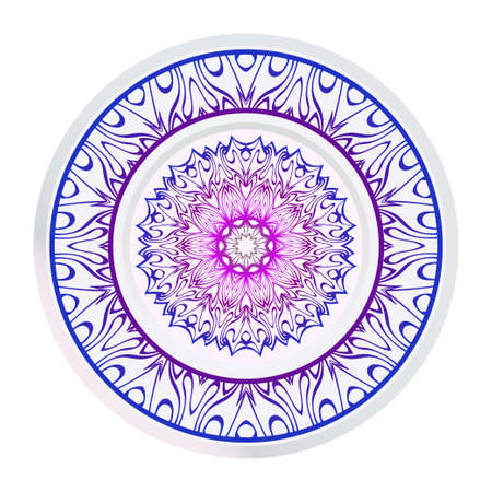 Handdrawn Pattern With Round Floral Mandala. Vector Illustration. Oriental Pattern. Indian, Moroccan, Mystic, Ottoman Motifs. Anti-Stress Therapy Pattern