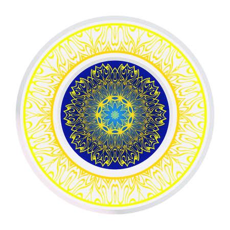 Design Mandala Ornament. Vector Illustration. Round Geometric Floral Pattern. Oriental Pattern. Indian, Moroccan, Mystic, Ottoman Motifs. Anti-Stress Therapy Pattern