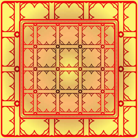 Template Print For Fabric. Pattern Of Geometric Ornament With Border. Illustration. Seamless. For Print Bandana, Shawl, Carpet.