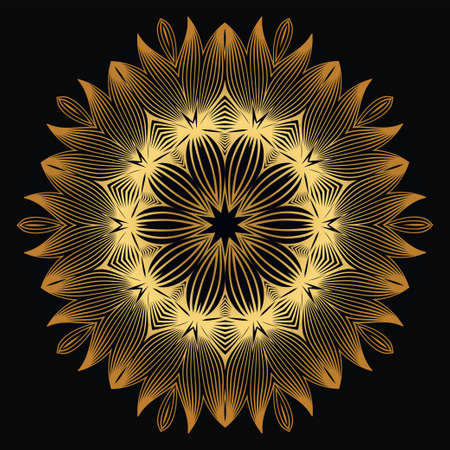 Vector Round Abstract Mandala Style Decorative Element. Hand-Drawn Vector Illustration. Can Be Used For Textile, Greeting Card, Coloring Book, Phone Case Print. Luxury black gold color. Çizim