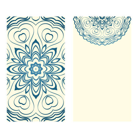 Design Vintage Cards With Floral Mandala Pattern And Ornaments. Vector Template. Islam, Arabic, Indian, Mexican Ottoman Motifs. Hand Drawn Background. Milk blue color.