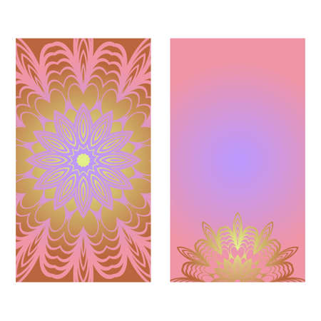 Creative invitation card template with floral round mandala. Vector illustration. Pastel color. 스톡 콘텐츠 - 133561543