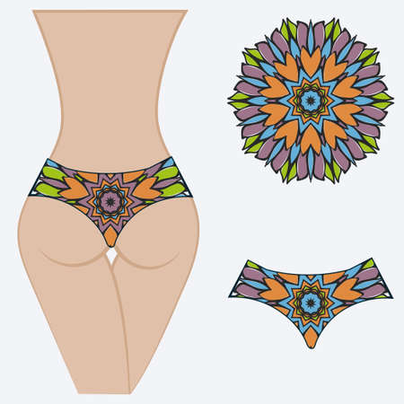 Female with panties. Decorative vector illustration. Mandala fashion print