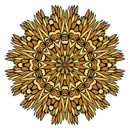 Oriental Mandala. Vintage Decorative Elements. Vector illustration. Golden color. For Coloring Book, Greeting Card, Invitation, Tattoo. Anti-Stress Therapy Pattern Illusztráció
