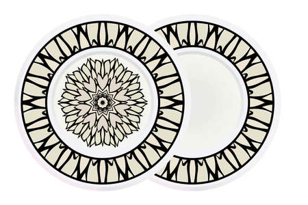 Matching decorative plates for interior designwith floral art deco pattern. Empty dish, porcelain plate mock up design. Vector illustration. White, grey color. 일러스트