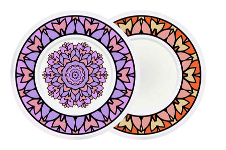 Set of two round decoration frame and mandala ornament. vector illustration. Reklamní fotografie - 133589223