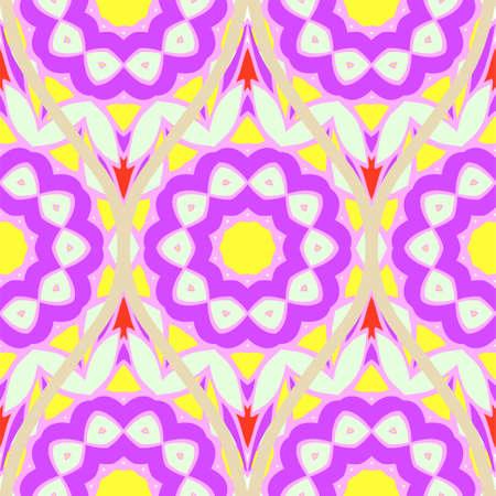 Seamless floral geometric pattern. Vector illustration. Bright color ornament. Reklamní fotografie - 133589341