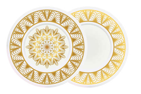 Set of 2 matching decorative plates for interior design. Empty dish, porcelain plate mock up design. Vector illustration. Decorative plates with Mandala ornament patterns. Home decor background