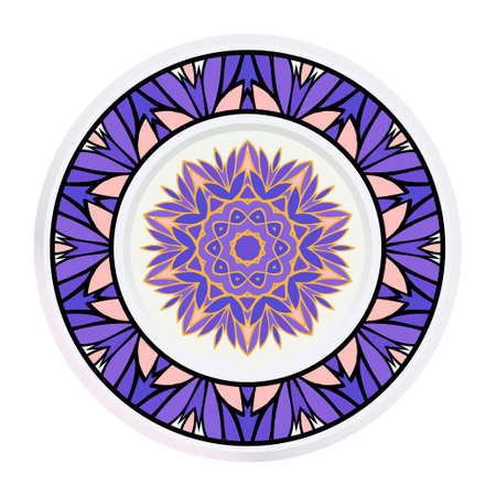 Creative round frame and floral mandala. Vector illustration. 일러스트