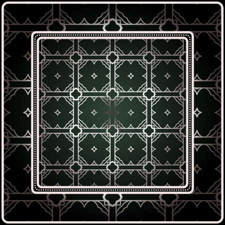 Background, Geometric Pattern With Ornate Lace Frame. Illustration. For Scarf Print, Fabric, Covers, Scrapbooking, Bandana, Pareo, Shawl. Silver. dark grey, green color color.