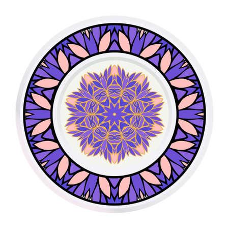 Creative round frame and floral mandala. Vector illustration. Ilustrace