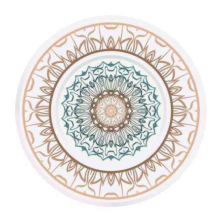 matching decorative plates. Decorative mandala ornament. Vector illustration. for interior design, circle medalion, colorful kitchen. Illusztráció