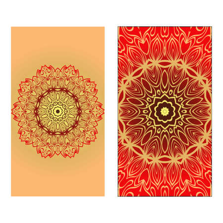 Design Vintage Cards With Floral Mandala Pattern And Ornaments. Vector illustration. Gold, red color. For Wedding, Bridal, Valentines Day, Greeting Card Invitation Illusztráció