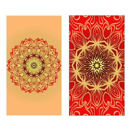 Design Vintage Cards With Floral Mandala Pattern And Ornaments. Vector illustration. Gold, red color. For Wedding, Bridal, Valentines Day, Greeting Card Invitation Çizim