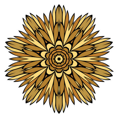 Oriental Mandala. Vintage Decorative Elements. Vector illustration. Golden color. For Coloring Book, Greeting Card, Invitation, Tattoo. Anti-Stress Therapy Pattern Ilustracja