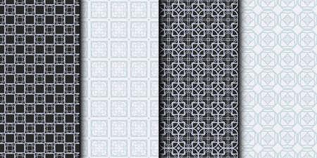 Set of Seamless Geometrical Linear Texture. Original Geometrical Puzzle. Backdrop. Grey color. Vector illustration. 일러스트