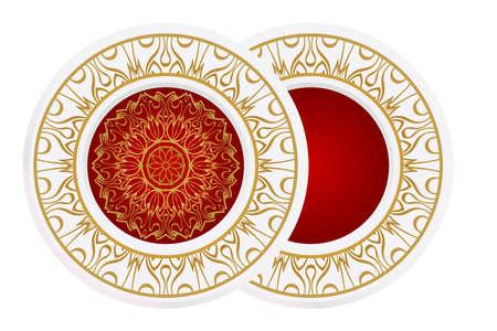 matching decorative plates. Decorative mandala ornament. Vector illustration. for interior design, circle medalion, colorful kitchen. Stock Illustratie