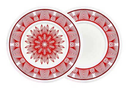 floral ornament plate for wall desight. vector illustration. Illusztráció