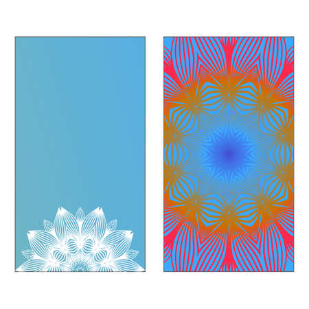 Yoga Card Template With Mandala Pattern. Vector illustration. Blue, yellow, white color. For Visit Card, Business, Greeting Card Invitation. Islam, Arabic, Indian, Mexican Ottoman Motifs