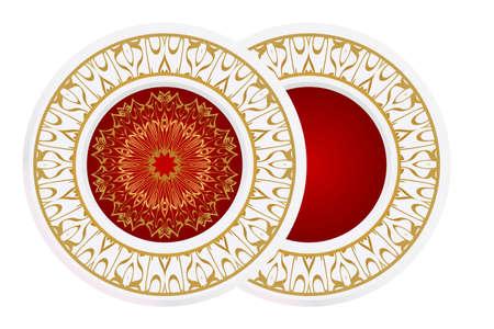 modern plate for interior design, circle medalion, colorful kitchen, vector illustration. Illusztráció