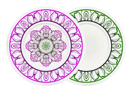 decorative plates for interior design. Empty dish, porcelain plate mock up design. Vector illustration. Decorative plates with Mandala ornament patterns. Home decor background.