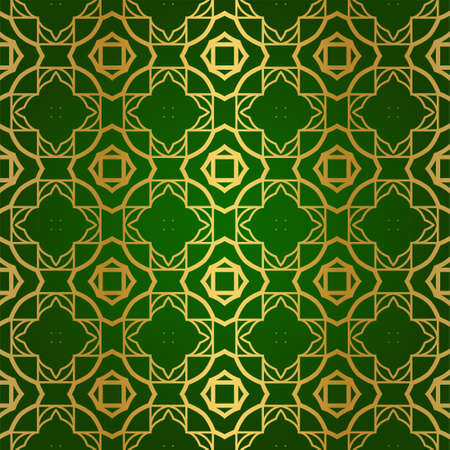 Luxury Seamless Geometrical Linear Texture. Original Geometrical Puzzle. Backdrop. Vector illustration. Green gold color. Design For Prints, Textile, Decor, Fabric Çizim