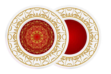 decorative plates for interior design. Empty dish, porcelain plate mock up design. Vector illustration. Decorative plates with stilish ornament patterns. Home decor background