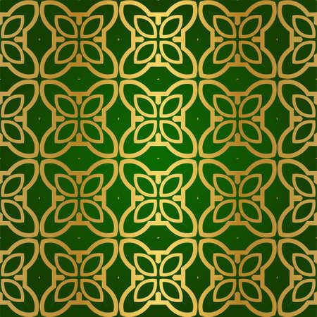 Luxury Seamless Geometrical Linear Texture. Original Geometrical Puzzle. Backdrop. Vector illustration. Green gold color. Design For Prints, Textile, Decor, Fabric Stock Illustratie
