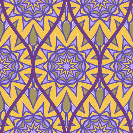 Decorative Colorful Floral Ornament With Decorative Border. Ethnic Seamless Decoration. Vector illustration Brown purple color.