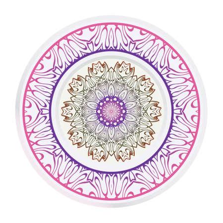 Decorative round ornament. Frame decoration with floral mandala. Vector illustration. Stock Illustratie