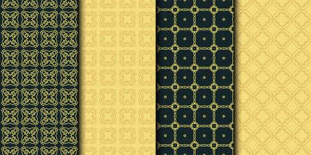 Set of 4 geometric seamless geometric pattern. Modern design. Vector illustration.