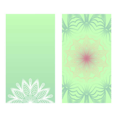 Two card with spring floral ornament. Vector illustration. For invitation.