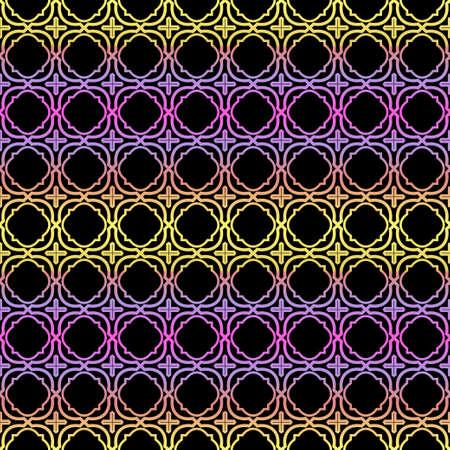 Color seamless geometric pattern with dark background. Vector illustration. Stock Illustratie