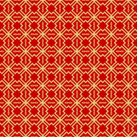 Modern Stylish Geometry Seamless Pattern Art Deco Background. Luxury Texture For Wallpaper, Invitation. Vector Illustration. Red gold color. Ilustração