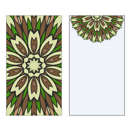 Ethnic Mandala Ornament. Templates invitation card With Mandalas. Floral decoration. Vector illustration Green, brown color. Card Design For Banners, Greeting Cards, Gifts Tags Çizim