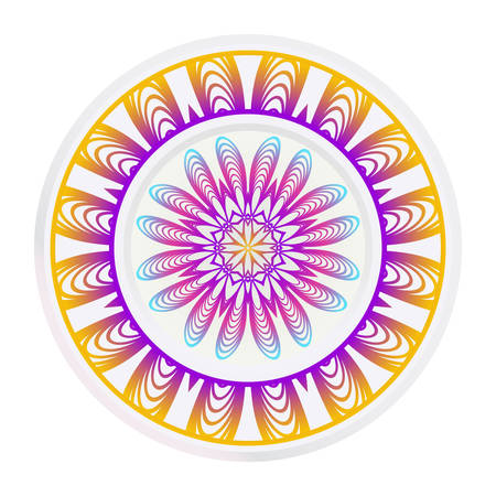 Decorative round frame and floral mandala ornament. Vector illustration. For kitchen decoration.