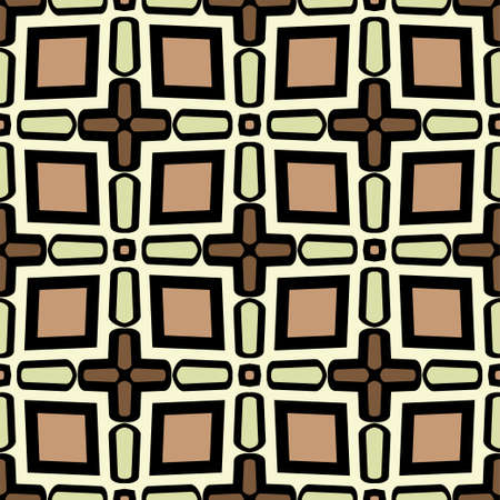 Abstract Vector Seamless Pattern With Abstract Geometric retro Style. Repeating Sample Figure And Line. For Modern Interiors Design, Wallpaper, Textile Industry. Brown, light olive color. Illusztráció