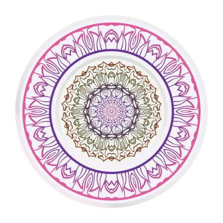 Decorative round ornament. Frame decoration with floral mandala. Vector illustration. 일러스트