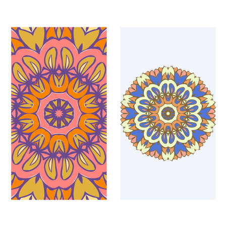 Set of two invitation card template with mandala. Vector illustration.