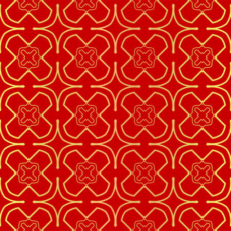 Luxury Stylish Geometry Seamless Pattern Art Deco Background. Texture For Wallpaper, Invitation. Vector Illustration. red gold color.