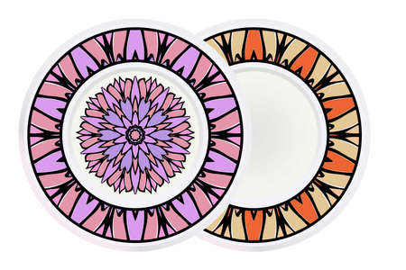 Set of two round decoration frame and mandala ornament. vector illustration. Ilustrace