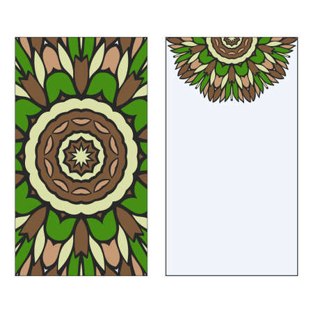 Ethnic Mandala Ornament. Templates invitation card With Mandalas. Floral decoration. Vector illustration Green, brown color. Card Design For Banners, Greeting Cards, Gifts Tags Ilustração
