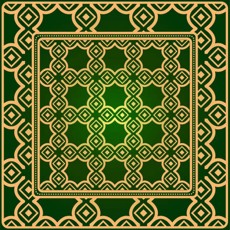 Luxury Fashion Design Print With Geometric Pattern. Vector Illustration. For Modern Interior Design, Fashion Textile Print, Wallpaper. Green gold color.