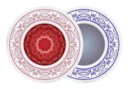Set of two decorative round border and mandala ornament. Vector illustration.