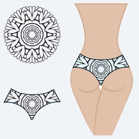 women's panties. vector illustration. gift floral print 写真素材 - 133712389
