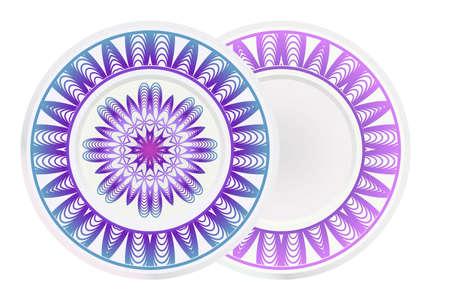 Set of two round ornament with decorative mandala. Vector illustration. 일러스트