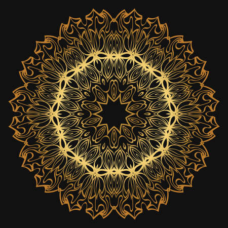 Luxury golden color Hand-Drawn Henna Ethnic Mandala. Circle lace ornament. Vector illustration. for coloring book, greeting card, invitation, tattoo. Anti-stress therapy pattern