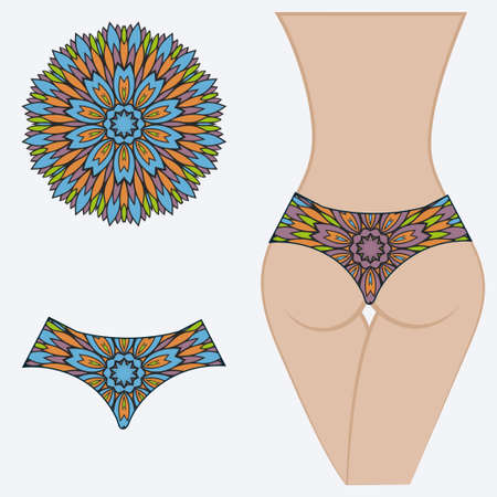 Woman panties briefs with mandala print. Flat vector iluustration. Fashion design.