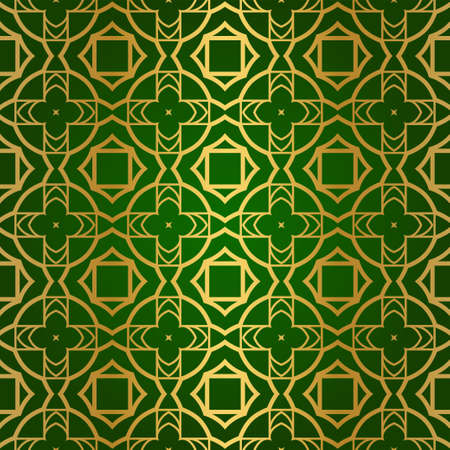 Luxury Seamless Geometrical Linear Texture. Original Geometrical Puzzle. Backdrop. Vector illustration. Green gold color. Design For Prints, Textile, Decor, Fabric Illusztráció