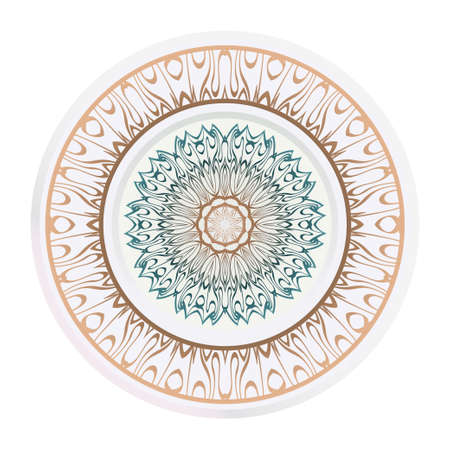 modern plate for interior design, circle medalion, colorful kitchen, vector illustration. 일러스트